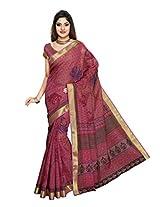 Jevi Prints Pink Colour Gadwal Cotton Saree
