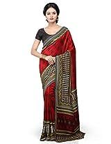Utsav Fashion Women's Red Art Silk Saree with Blouse