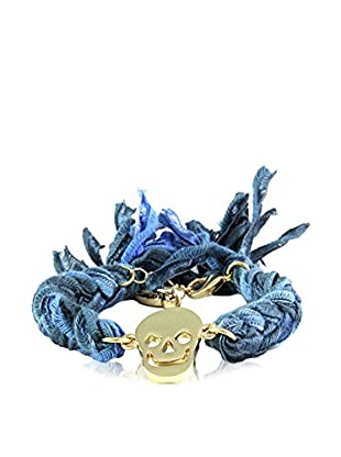 Ettika Denim Vintage Ribbon Bracelet with 18K Gold-Plated Skull Charm