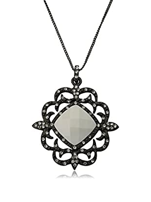 Riccova Country Chic Black Rhodium Plated Crystal On Lace Medallion Pendant