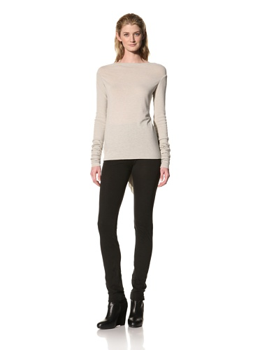 RICK OWENS Women's Long Sleeve Drapeback Top (Pearl)