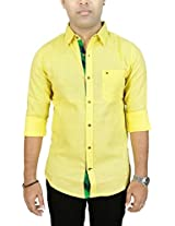 AA' Southbay Men's Banana Yellow Khadi Jute Cotton Long Sleeve Solid Casual Party Shirt