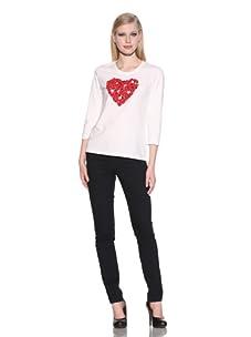 Michael Simon Women's 3/4 Sleeve Heart Top (White)