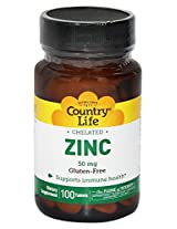 Country Life Chelated Zinc 50 mg - 100 Tablets