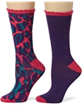 Betsey Johnson Women's 2 Pair Pack Signature Crew Socks In Gift Box, Purple Multi, One Size