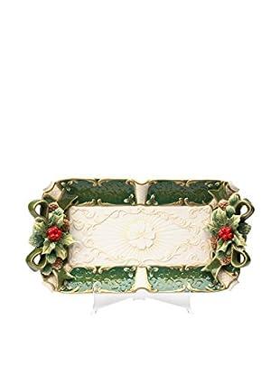 Cosmos Emerald Holiday Holly Platter
