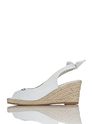 Miss Roberta Slingback Open-toe Canvas (Bianco)