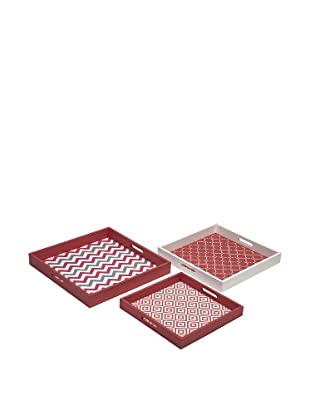 Set of 3 Essentials Graphic Trays, Coral