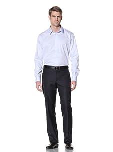 Pierre Balmain Men's Italian Collar Dress Shirt (Blue Twill)