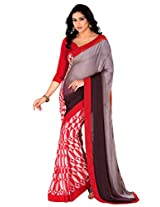 Riti Riwaz Gray Saree with Unstitched Blouse RBL113