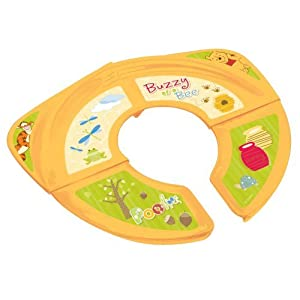 Disney Winnie-the-Pooh Folding Potty Seat - For Standard Toilets - Regular For Home or Travel Use - 18 Plus Months - Yellow - Comes With Travel-Ready Bag