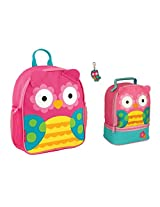 Stephen Joseph Girls Mini Owl Backpack, Lunch Pal and Zipper Pull Combo - Toddler Backpacks