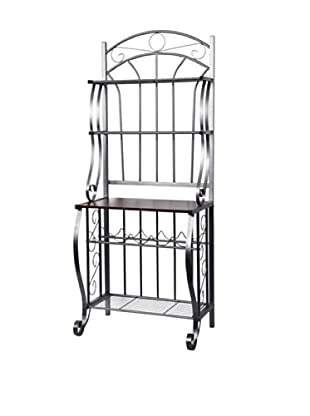 Old Dutch Baker's Rack with Wine Rack, RTA (Pewter)