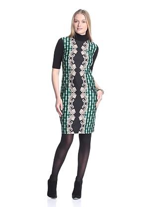 Julian Taylor Women's Ponte Dress with Rib Knit Sleeves (Emerald/Black)