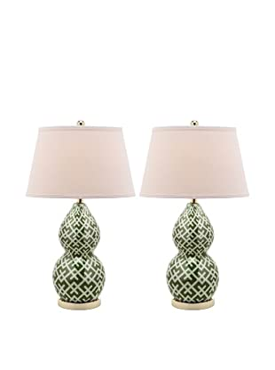 Safavieh Cross-Hatch Double Gourd Lamp, Set Of 2, Gold Base And Neck With Green Shade