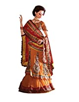 Anvi Creations Embroidered Net Georgette Lehenga Choli (Orange Yellow_Free Size)