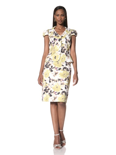 Tahari by A.S.L. Women's Printed Two-Piece Suit (Marigold/Black/White)