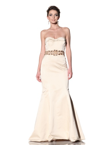 Badgley Mischka Women's Satin Strapless Gown with Jeweled Waistband (Champagne)