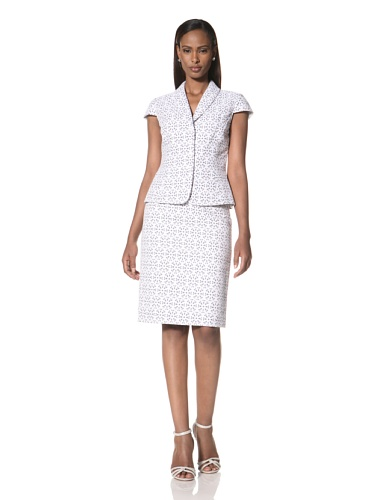 Tahari by A.S.L. Women's Cap Sleeve Jacket with Matching Skirt (White/Blue)