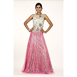 Bawree White and Pink Net Partywear Gown