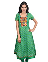 Amour Cotton Green Color Anarkali Kurta - 429-Green-S