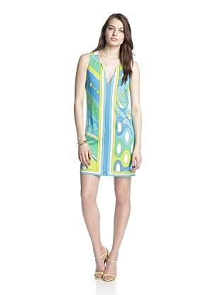 JB by Julie Brown Women's Isla V-Neck Shift Dress (Blue/Green)