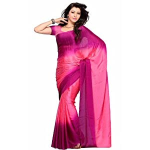 Pink and Wine Georgette Silk Saree
