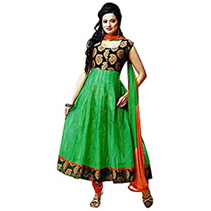 Womens Semi Stitched Green & Black Anarkali Suit