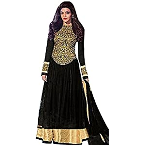 Black color embroidered semi stitched designer anarkali suit