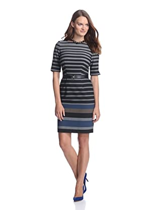 Muse Women's Striped Dress with Back Cutout (Black/Grey)