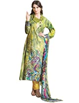 JINAAM DRESSES FRENCH CREPE UNSTITCHED SUIT WITH BAMBERG CHIFFON DUPATTA
