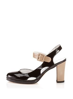 Elizabeth Brady Women's Olivia Ankle-Strap Pump (Black/Taupe)