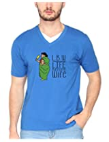 Campus Sutra Royal Blue Double V Neck Tshirt LBW