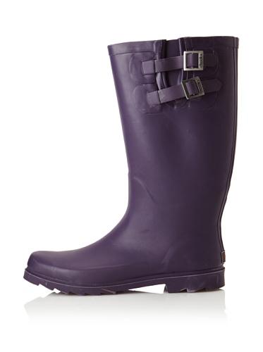 Chooka Women's Signature Solid Dual Buckle Rain Boot (eggplant)