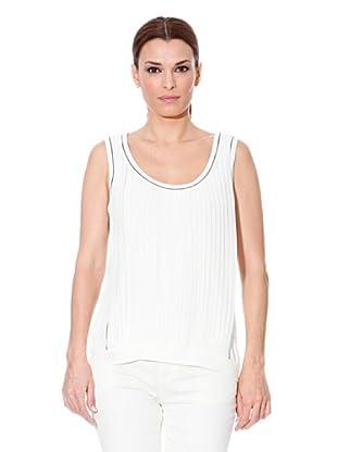 Cortefiel T-Shirt Plisseefalten (Weiß)