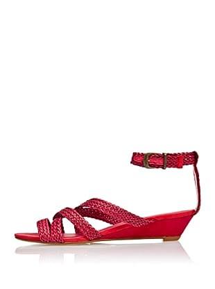 Cortefiel Keil-Sandale Intrecciati (Rot)