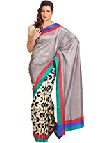 Parchayee Women's Synthetic Raw Silk Saree (10291FMST, Grey, Free Size)
