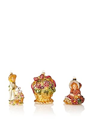 Krebs Glas Lauscha Set of 3 Floral Themed Ornaments