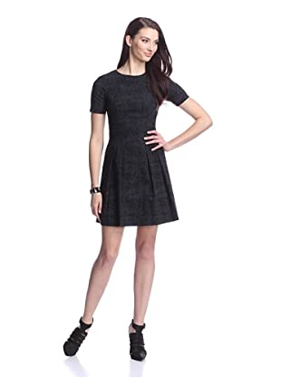 Nicole Miller Women's Short Sleeve Fit and Flare Dress (Black)