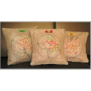 Cute Jute Floral Embroidered Set Of 3 Cushions