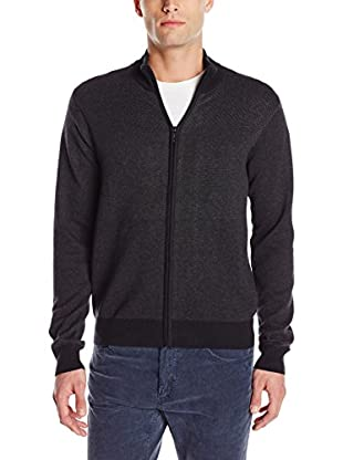 Perry Ellis Men's Long Sleeve Zip Up Mock Neck Sweater