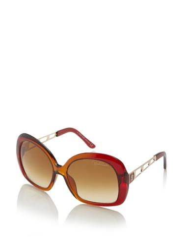 Roberto Cavalli Women's Magnolia 523S Sunglasses, Red Orange/Brown