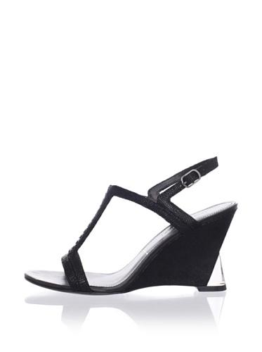 Sigerson Morrison Women's Dynn Wedge Sandal (Black Embossed)