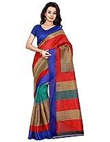 Silk Bazar Women's Tassar Silk Saree with Blouse Piece (Blue & Red)