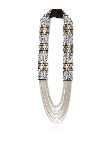 La Croix Rousse Beaded Chain Necklace, Silver/Gunmetal