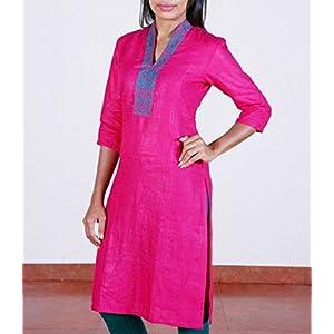 Pink, high collared, linen blended cotton kurta.