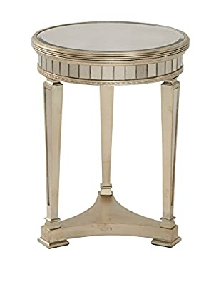 Bassett Mirror Company Borghese Mirrored Round End, Silver Leaf