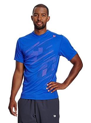 Wilson T-Shirt M Su Blur Plaid V-Neck Blue Iris