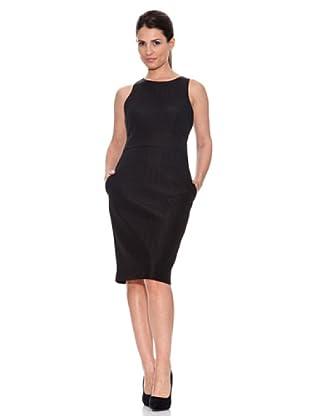 Caramelo Vestido Plisados Corto (Negro)