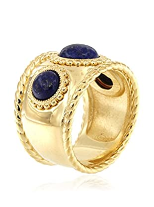Etrusca Anillo Ring Three Gemstone N Wide Band
